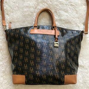 Dooney & Bourke Logo Tote Handbag Leather Brown